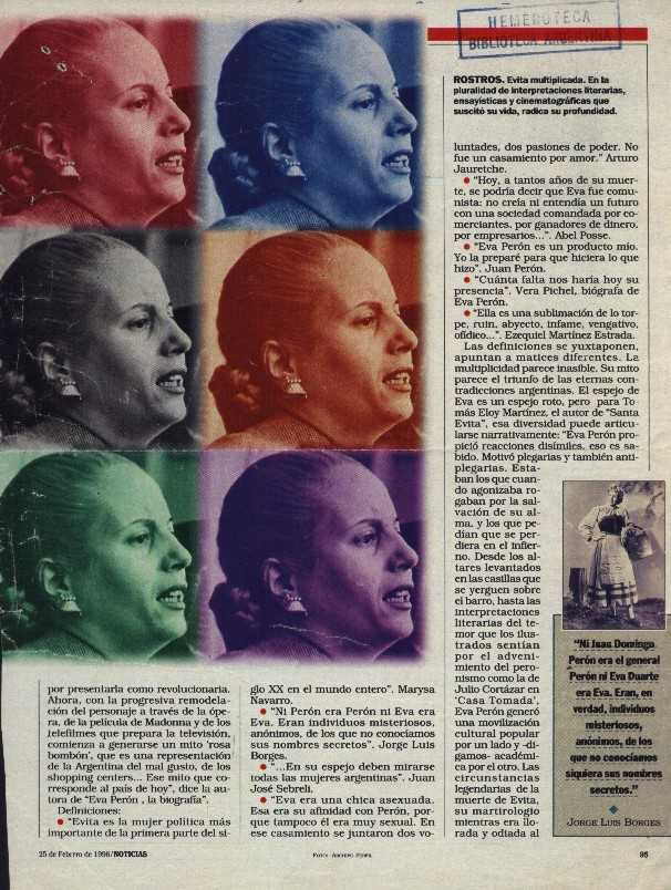 essay on eva peron Evita eva peron argentina: biography movie essay  it aches in my flesh, and it ignites my nerves: that is my love for the people and peron.